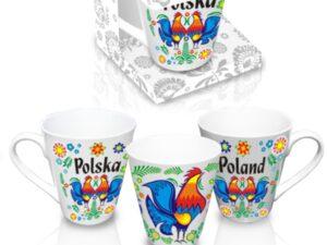 Kubek kulowy szary z kolorowymi kogutami i napisem Polska z jednej oraz Poland z drugiej strony.